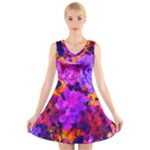 Purple Painted Floral and Succulents V-Neck Sleeveless Dress