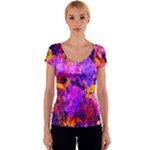 Purple Painted Floral and Succulents Women s V-Neck Cap Sleeve Top
