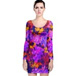 Purple Painted Floral and Succulents  Long Sleeve Velvet Bodycon Dress