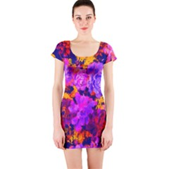 Purple Painted Floral And Succulents Short Sleeve Bodycon Dress by LisaGuenDesign