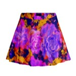 Purple Painted Floral and Succulents Mini Flare Skirt