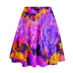 Purple Painted Floral and Succulents High Waist Skirt