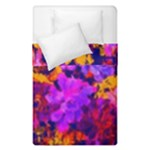 Purple Painted Floral and Succulents Duvet Cover Double Side (Single Size)