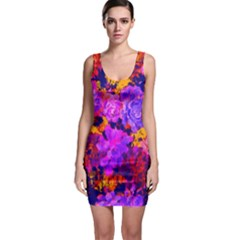 Purple Painted Floral And Succulents Bodycon Dress by LisaGuenDesign
