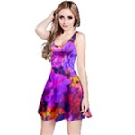 Purple Painted Floral and Succulents Reversible Sleeveless Dress
