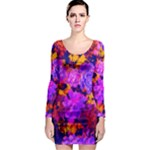 Purple Painted Floral and Succulents Long Sleeve Bodycon Dress