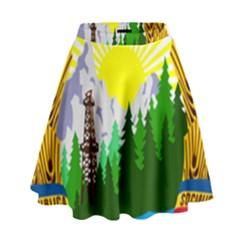 National Emblem Of Romania, 1965 1989  High Waist Skirt by abbeyz71