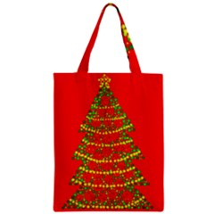 Sparkling Christmas Tree   Red Zipper Classic Tote Bag by Valentinaart
