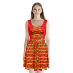 Sparkling Christmas tree - red Split Back Mini Dress  by Valentinaart