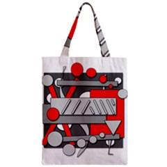 Gray and red geometrical design Zipper Classic Tote Bag
