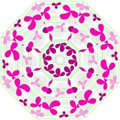 Magenta floral pattern Hook Handle Umbrellas (Small) by Valentinaart