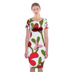 Floral tree Classic Short Sleeve Midi Dress by Valentinaart