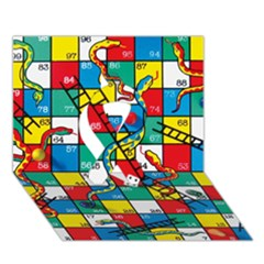 Snakes And Ladders Ribbon 3D Greeting Card (7x5) by Zeze