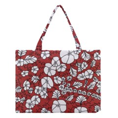 Cvdr0098 Red White Black Flowers Medium Tote Bag by CircusValleyMall