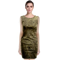 Peacock Metal Tray Classic Sleeveless Midi Dress by Zeze