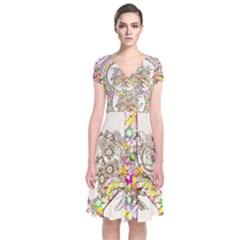 Peace Logo Floral Pattern Short Sleeve Front Wrap Dress by Zeze
