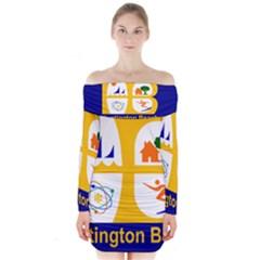 Flag Of Huntington Beach, California Long Sleeve Off Shoulder Dress by abbeyz71