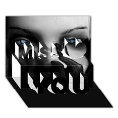 Black And White Miss You 3d Greeting Card (7x5) by AnjaniArt