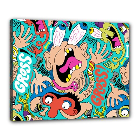 Cartoons Funny Face Patten Canvas 20  X 16  by AnjaniArt