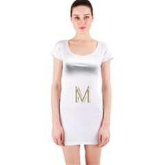 M Monogram Initial Letter M Golden Chic Stylish Typography Gold Short Sleeve Bodycon Dress by yoursparklingshop