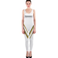 M Monogram Initial Letter M Golden Chic Stylish Typography Gold Onepiece Catsuit by yoursparklingshop