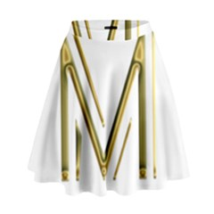 M Monogram Initial Letter M Golden Chic Stylish Typography Gold High Waist Skirt by yoursparklingshop