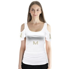 M Monogram Initial Letter M Golden Chic Stylish Typography Gold Butterfly Sleeve Cutout Tee  by yoursparklingshop