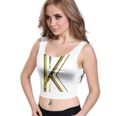 Monogrammed Monogram Initial Letter K Gold Chic Stylish Elegant Typography Crop Top by yoursparklingshop
