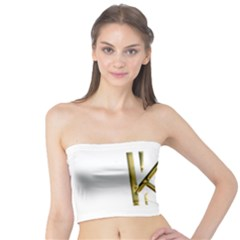 Monogrammed Monogram Initial Letter K Gold Chic Stylish Elegant Typography Tube Top by yoursparklingshop