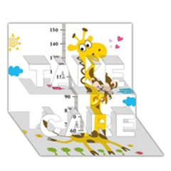 Cute Giraffe Monkey TAKE CARE 3D Greeting Card (7x5) by AnjaniArt