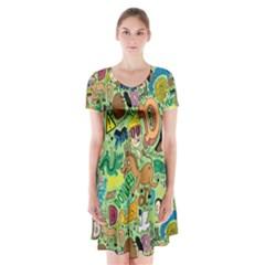 D Pattern Short Sleeve V-neck Flare Dress by AnjaniArt