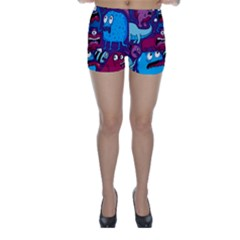 Deep Wow Purple Cartoons Skinny Shorts by AnjaniArt