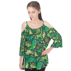 Dino Pattern Cartoons Flutter Tees by AnjaniArt