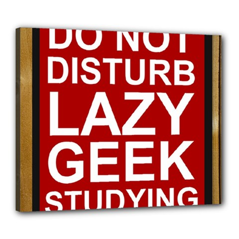 Do Not Disturb Lazy Geek Studying Glass Framed Poster Canvas 24  x 20  by AnjaniArt