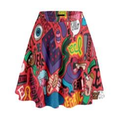 E Pattern Cartoons High Waist Skirt by AnjaniArt