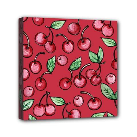 Cherry Cherries For Spring Mini Canvas 6  X 6  by BubbSnugg