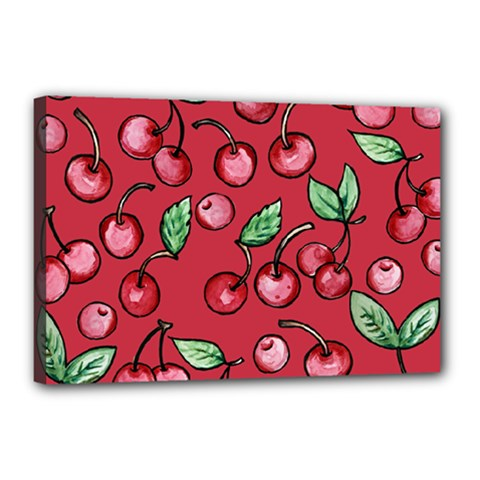 Cherry Cherries For Spring Canvas 18  X 12  by BubbSnugg