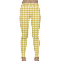 Deep Yellow Gingham Classic Traditional Pattern Yoga Leggings  by CircusValleyMall