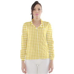 Deep Yellow Gingham Classic Traditional Pattern Wind Breaker (Women) by CircusValleyMall