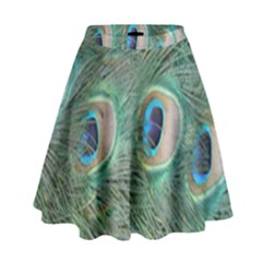 Peacock Feathers Macro High Waist Skirt by GiftsbyNature