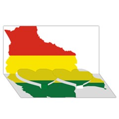 Flag Map Of Bolivia Twin Heart Bottom 3d Greeting Card (8x4) by abbeyz71