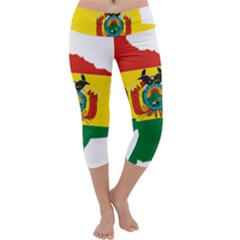 Flag Map of Bolivia  Capri Yoga Leggings by abbeyz71