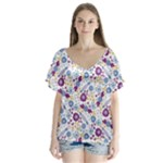 Retro Candy Floral Doodles V-Neck Flutter Sleeve Top