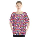 Spring Floral Batwing Chiffon Blouse