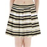 Gold Glitter, Black and White Stripes Pleated Mini Skirt