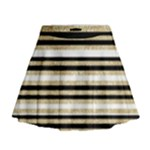 Gold Glitter, Black and White Stripes Mini Flare Skirt