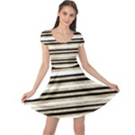 Gold Glitter, Black and White Stripes Cap Sleeve Dress