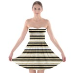 Gold Glitter, Black and White Stripes Strapless Bra Top Dress