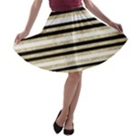 Gold Glitter, Black and White Stripes A-line Skater Skirt