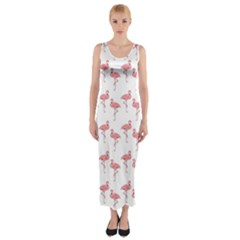 Pink Flamingo Pattern Fitted Maxi Dress by CrypticFragmentsColors